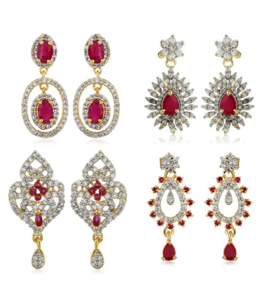 Estele Diamante Earrings With Ruby Stones Combo Set