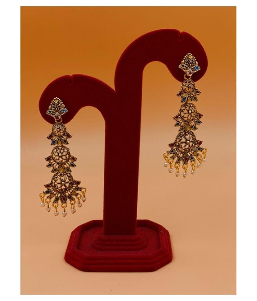 JKKAJD Designs Gold plated jhumki earrings for women