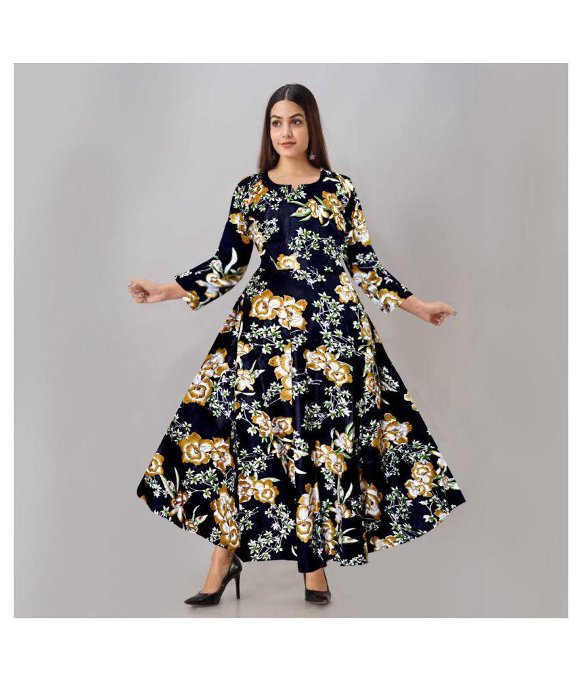 Trendy Fab Rayon Black A- line Dress