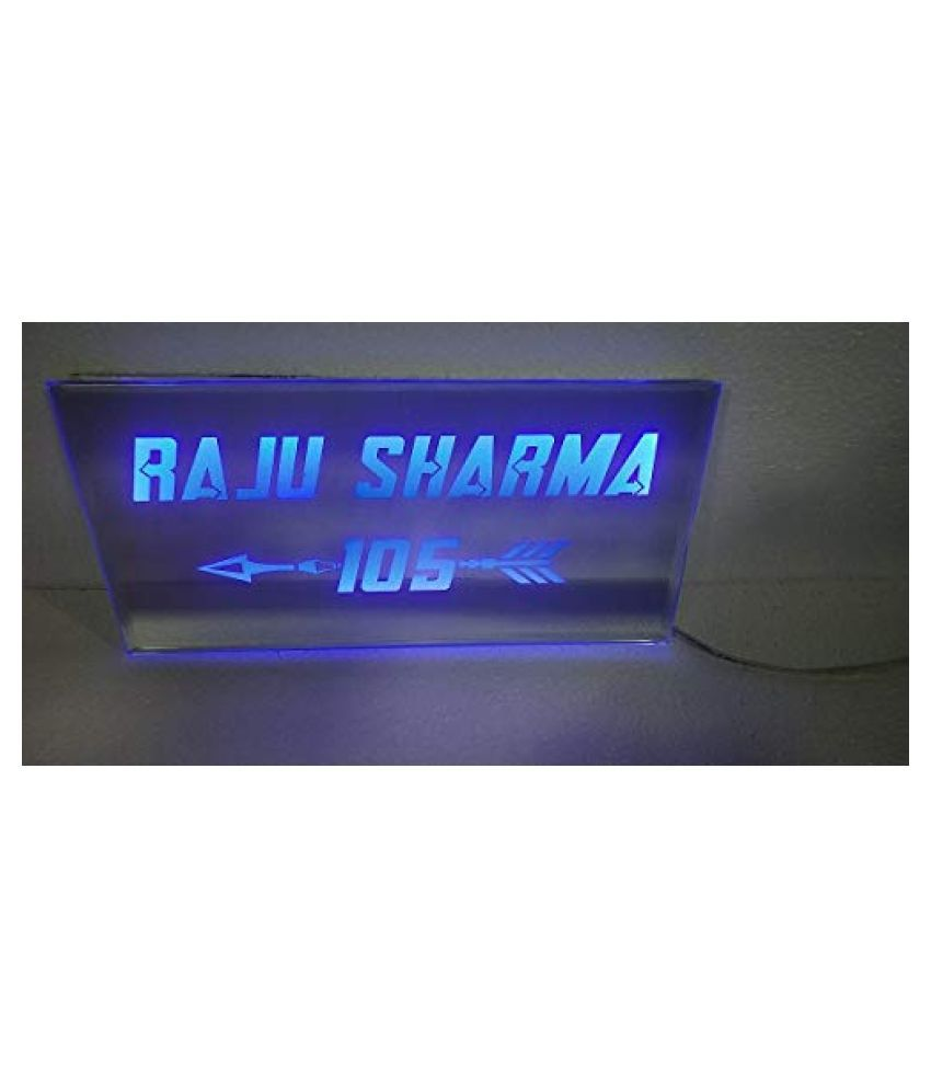 ARANANUT Name Plate with LED Light -for Home Square Decorative Plate Blue - Pack of 1