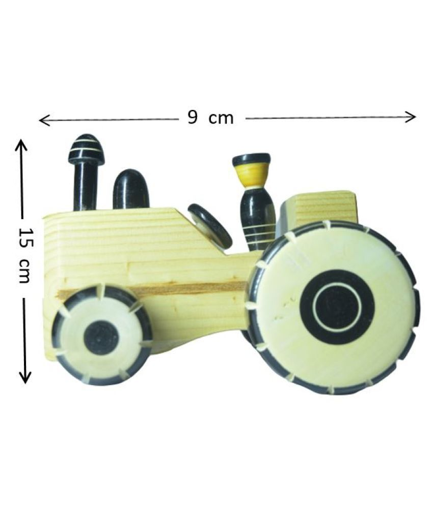 Wooden Handcrafted tractor pull along toy for kids Showpiece - Channapatna Toys