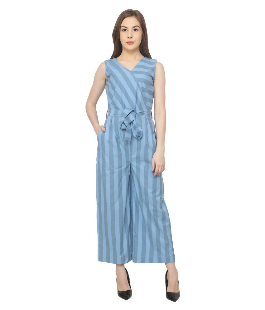 Apella Blue Cotton Jumpsuit