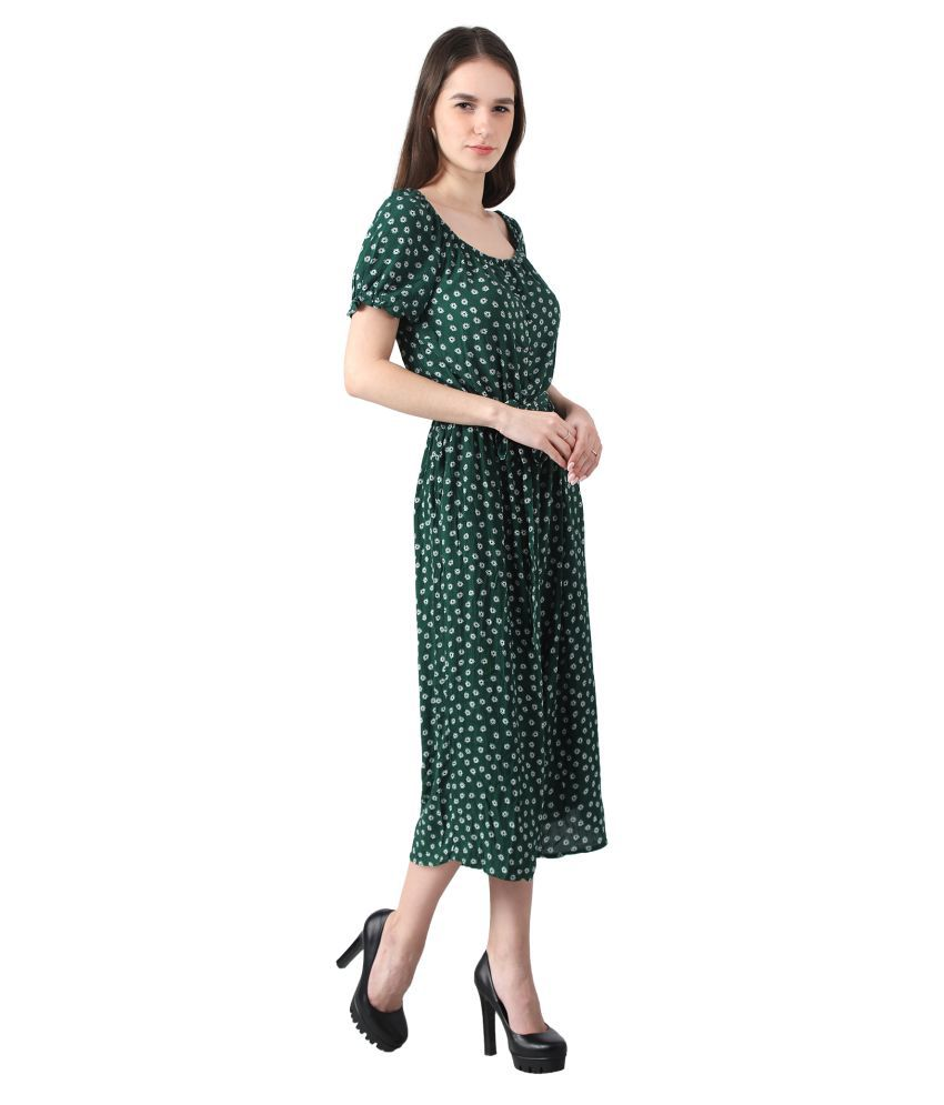 Mansi Collections Green Viscose Jumpsuit