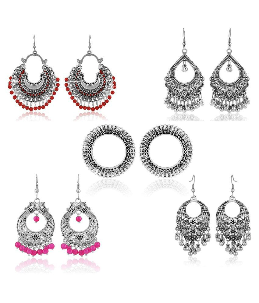 Doyen Creations Stylish Combo Lively Colors Golden Silver Oxidized Traditional Stud ChandBali Jhumki/Jhumka Earrings for Women and Girls