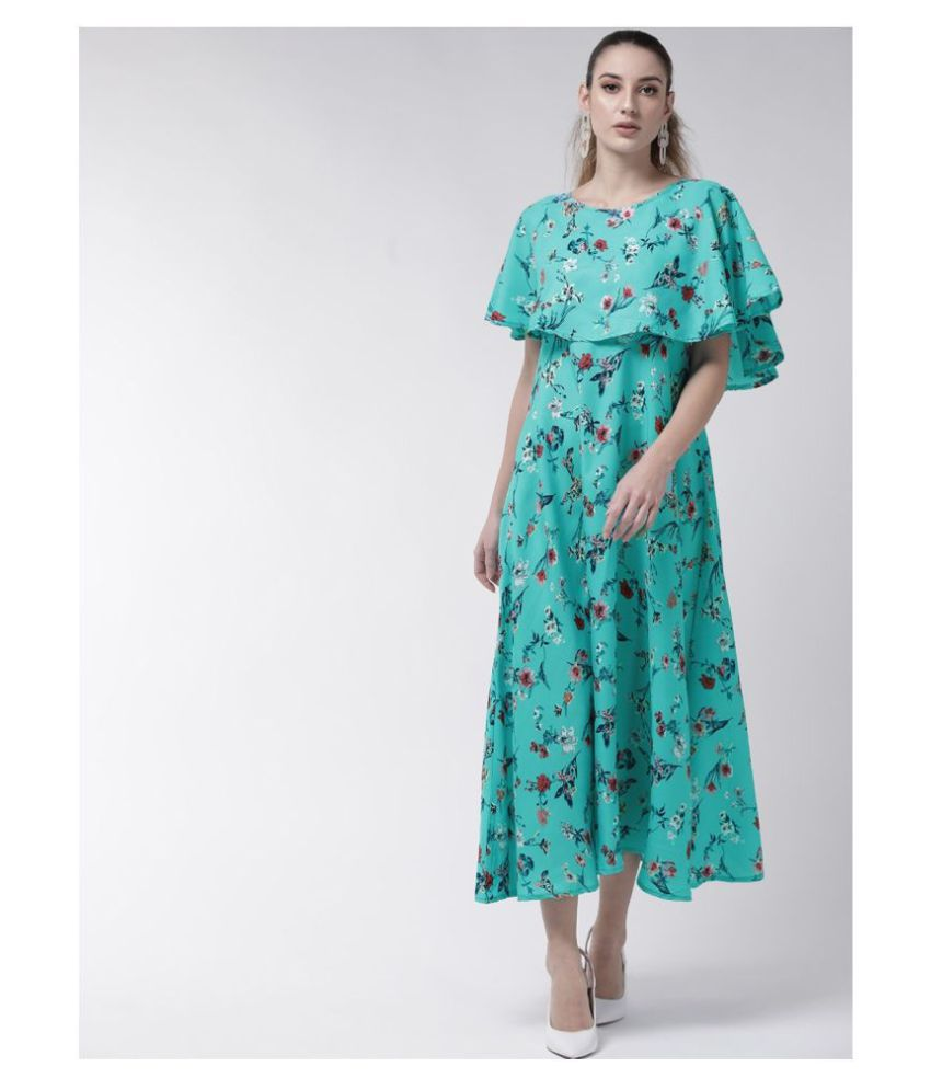 O Madam Crepe Turquoise Fit And Flare Dress