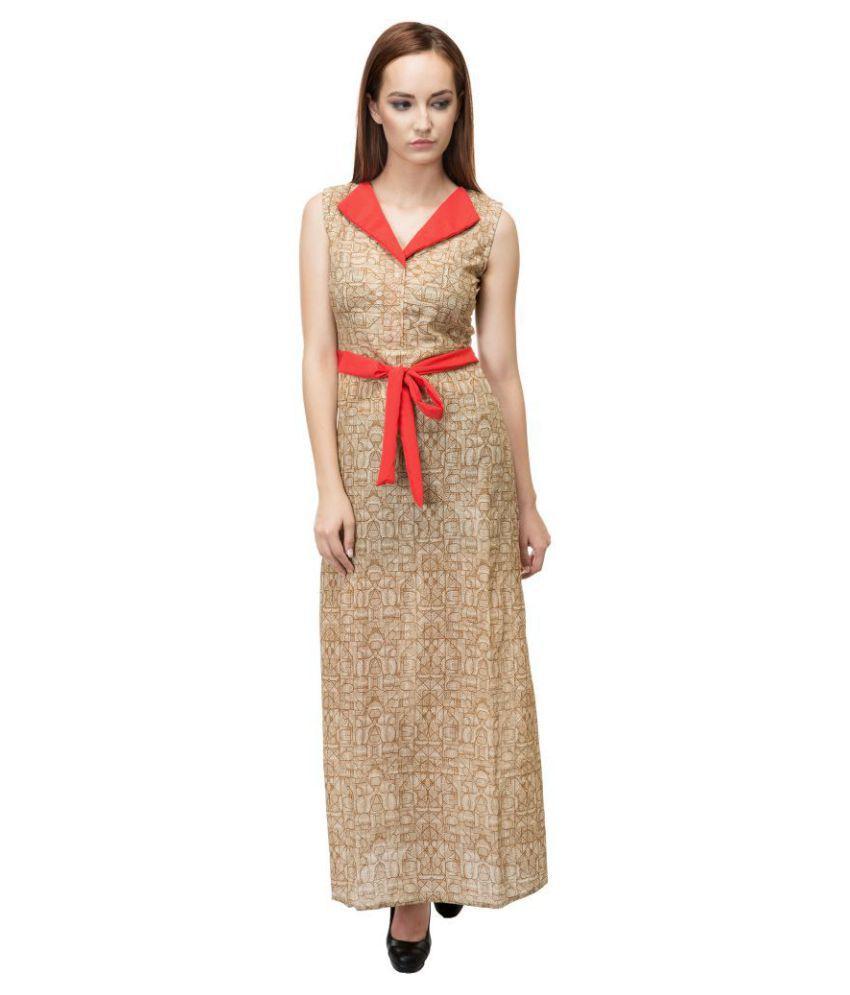 Adyuth Cotton Beige A- line Dress