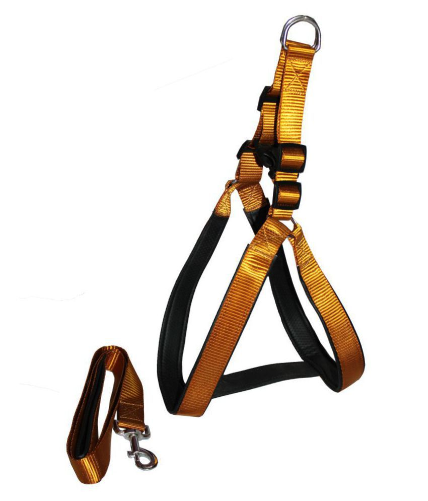 Petshop7 Nylon Padded Dog Harness & Leash  Set with Fur XL (Chest Size - 32 - 40inch)