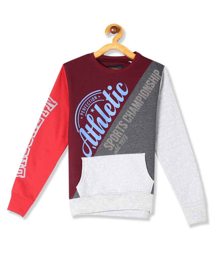 Multi Colour Panelled Graphic Sweatshirt