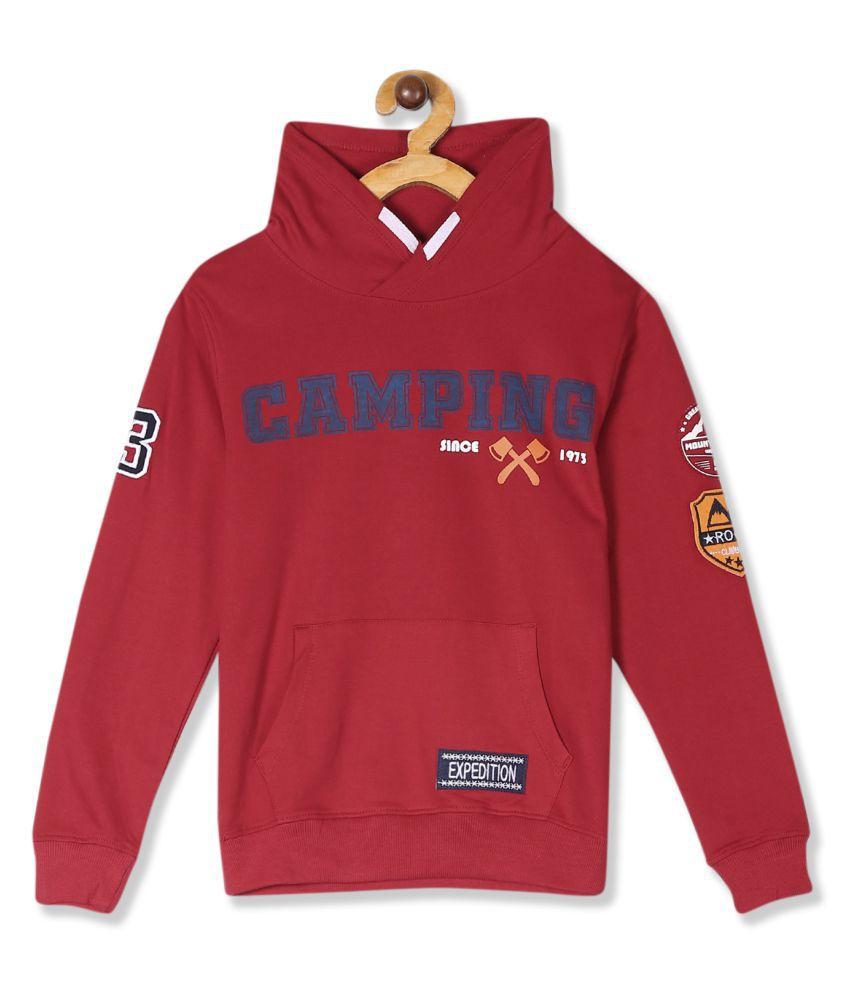 Red Boys Stylized Collar Printed Sweatshirt