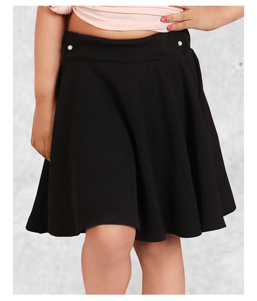 Addyvero Solid Girls Skater Black Skirt