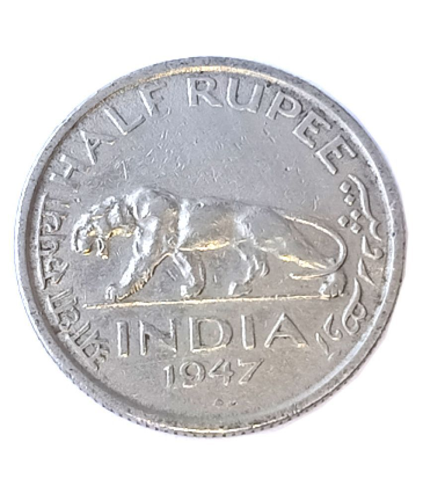 RARE OLD HALF RUPEE YEAR 1947 GEORGE VI KING EMPEROR  OLD COIN