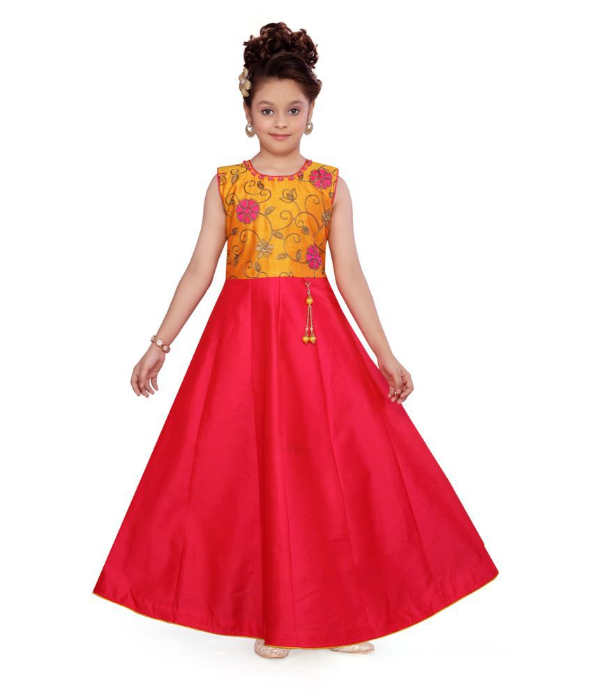 Aarika Girl's Yellow/Rani coloured Party Wear Gown with Unstich Sleeves