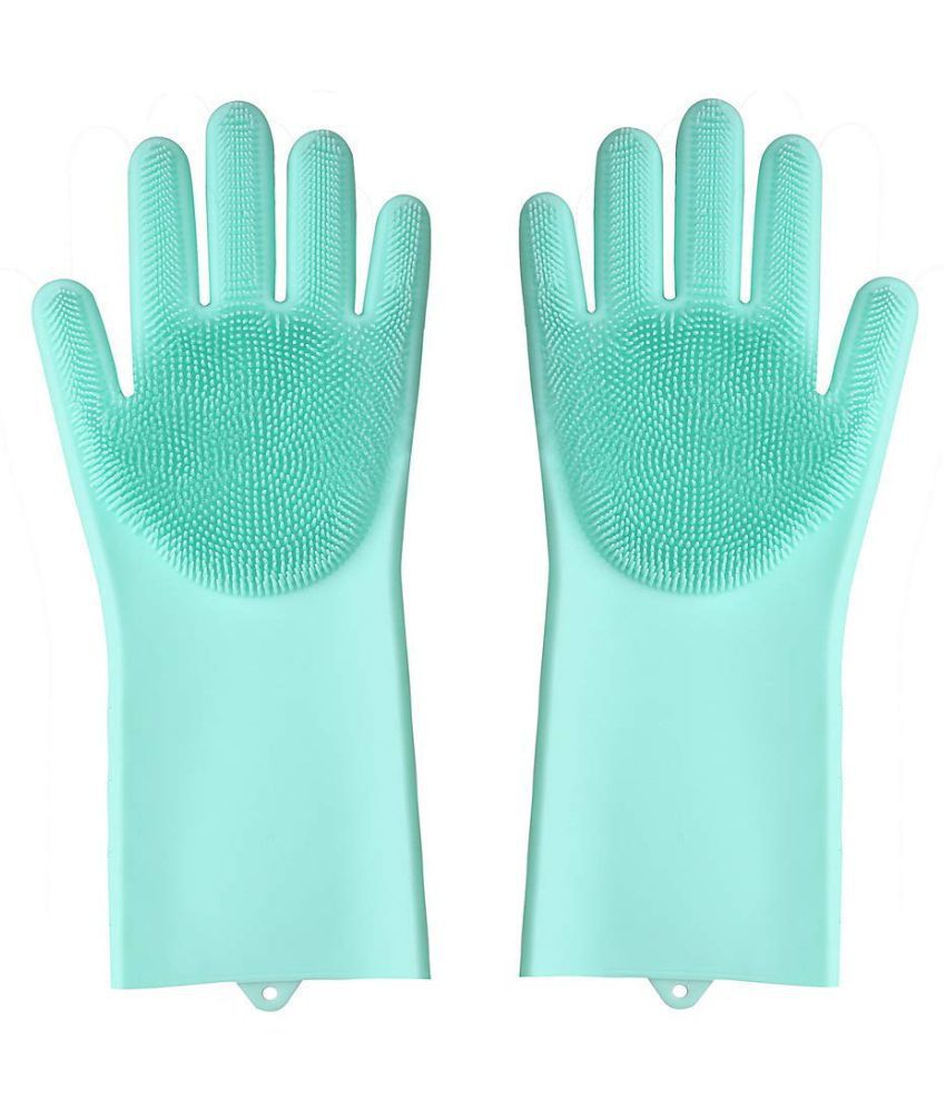 Bramble Washing Silicon Hand Gloves with Scrubber for Kitchen Cleaning, Utensils Rubber Universal Size Cleaning Glove