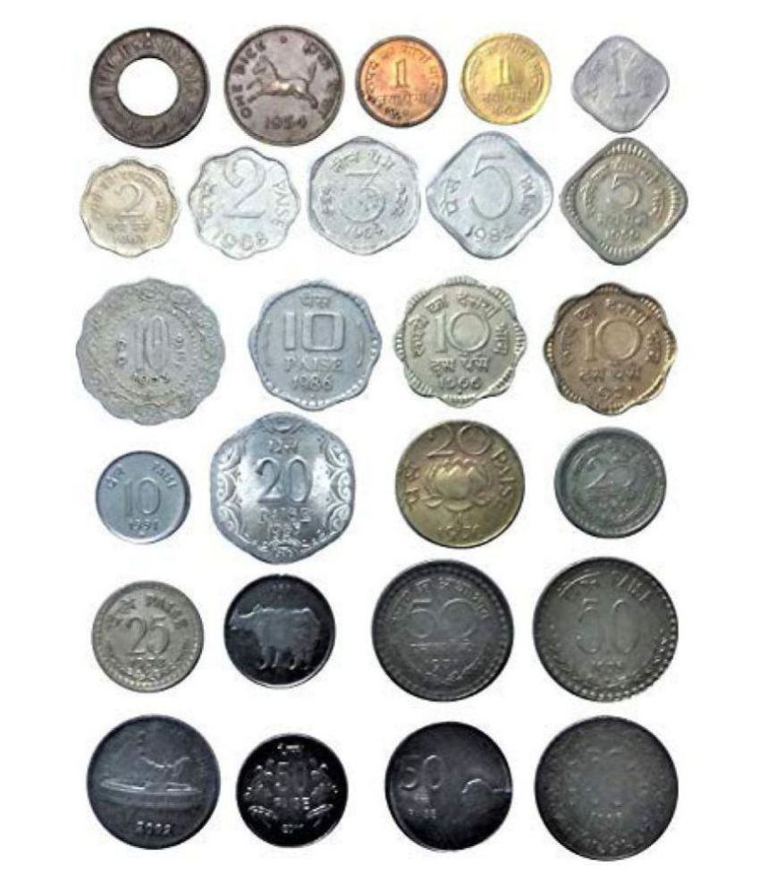 Republic India 26 Different Types Of (1 Pice to 50 Paisa) Coins Collectible Item Rare,,See Description for Details