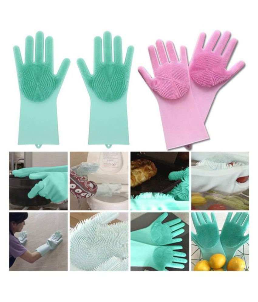 Silicon Gloves for Kitchen Cleaning By Bramble Rubber Universal Size Cleaning Glove