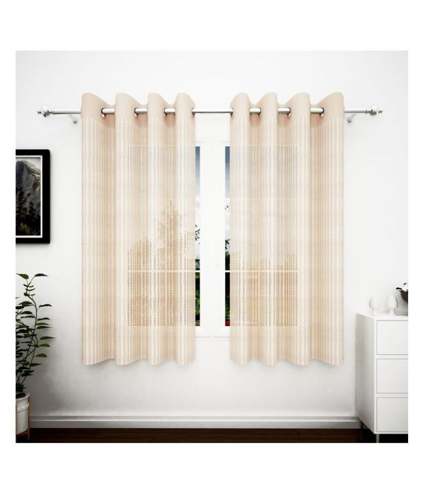 Story@Home Set of 2 Window Transparent Eyelet Polyester Curtains Beige