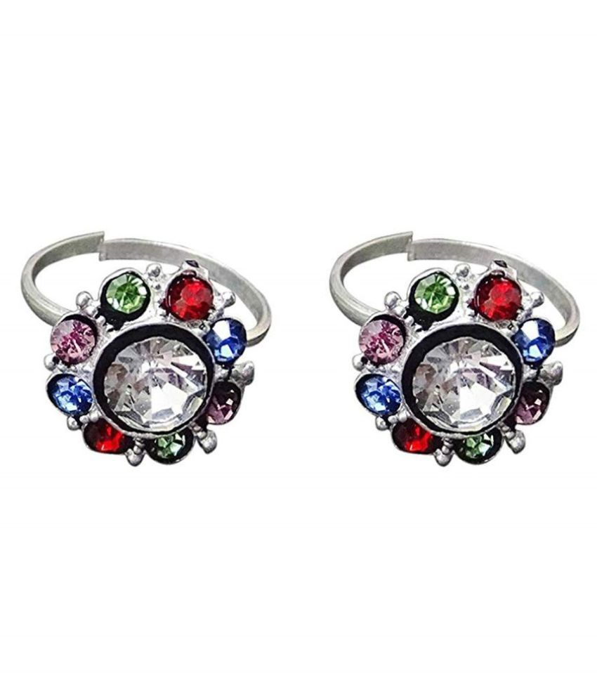 Toe Ring Plain Pure Sterling Multi Color Silver Plated Toe Ring Jewelry for Women, (012)