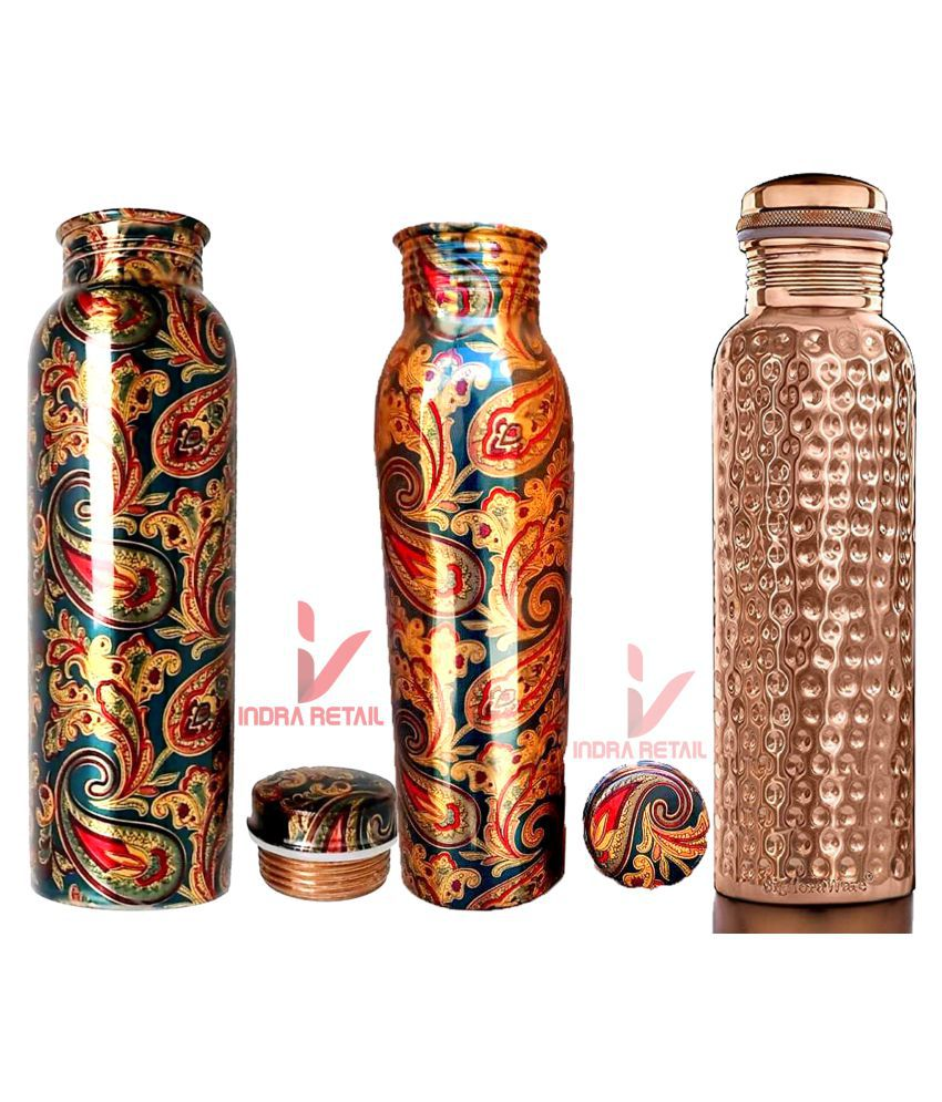 indra Copper Water Bottle Ayurvedic Combo Set of 2 Printed & 1 hemmerd For School ,Home, Office Use For Yoga ,Gym , Travelling Make your Health Good