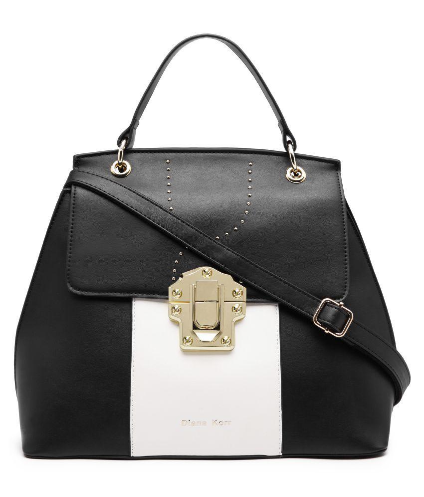 Diana Korr Black P.U. Satchel Bag