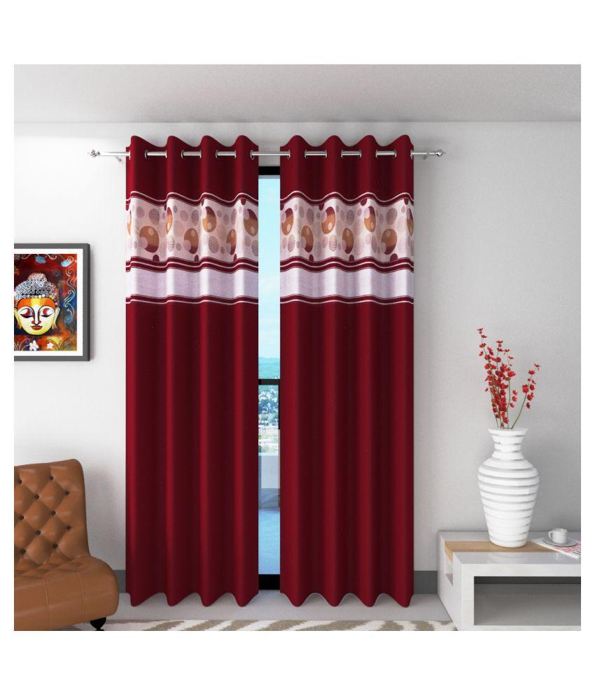 Shri Shyam Furnishing Set of 2 Window Semi-Transparent Eyelet Polyester Curtains Maroon