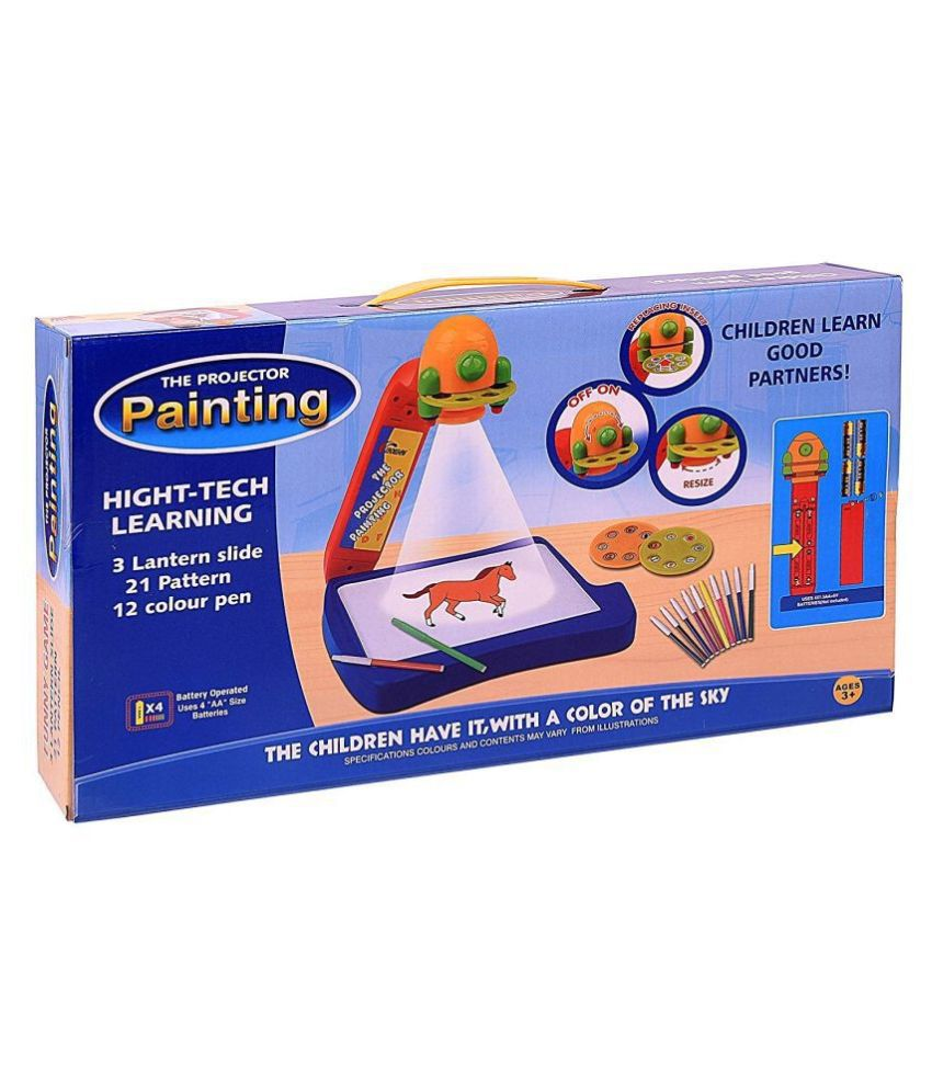 PIXCEL Toys Drawing Projector Music Painting Table with 3 Lantern Slides 21 Patterns-12 Colorful Water Pens for Kids