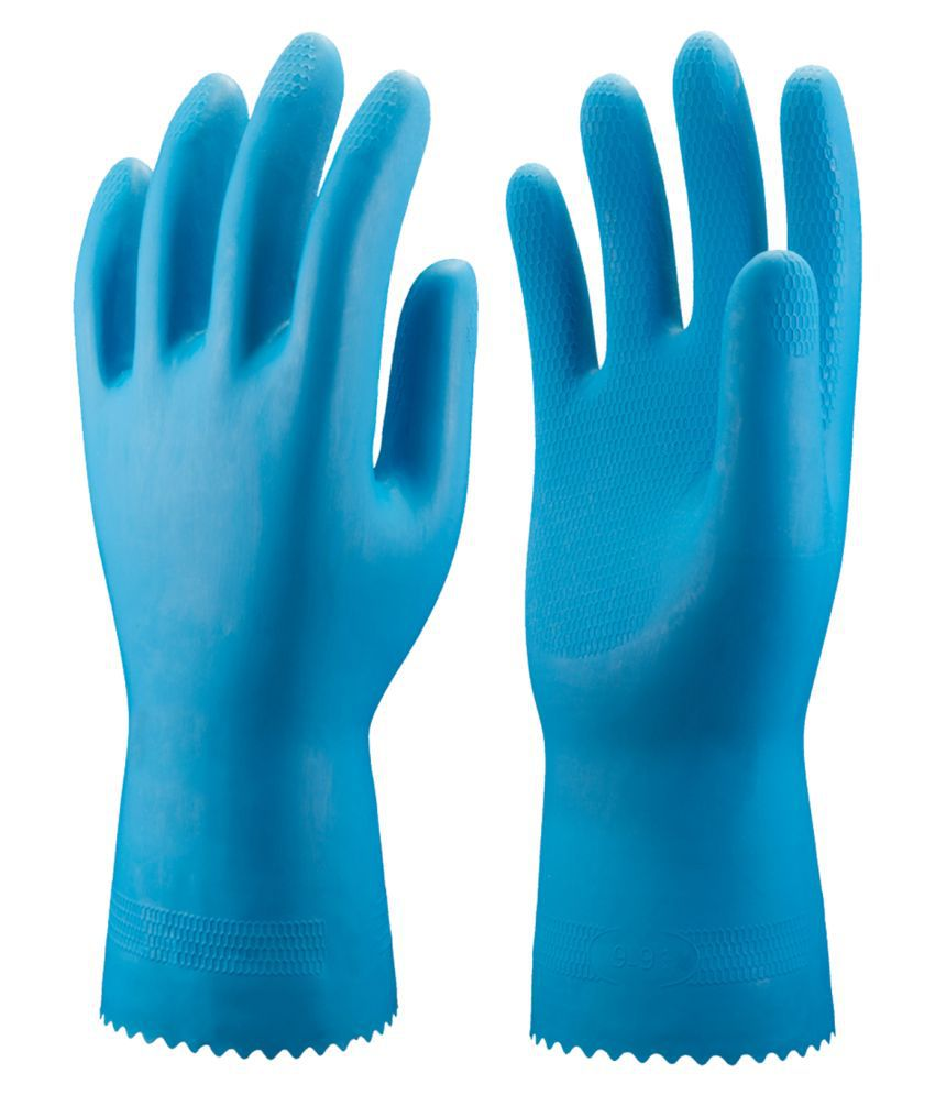 SHOPOLINE Washing Gloves Rubber  Cleaning Glove 1 Pair Blue.