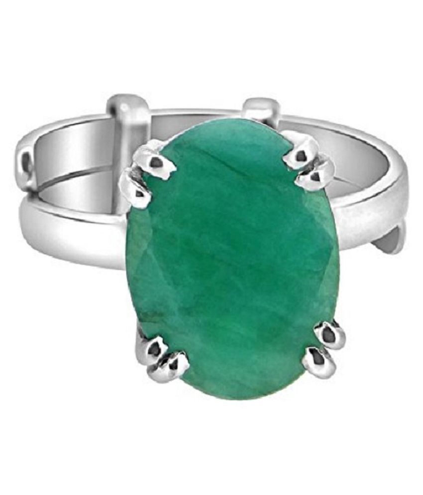 7.25 Carat 925 Sterling Silver Original Natural Certified Green Emerald Oval Cut Faceted Gemstone May Birthstone Zambian Columbia Panna Silver Plated  Ring for Unisex