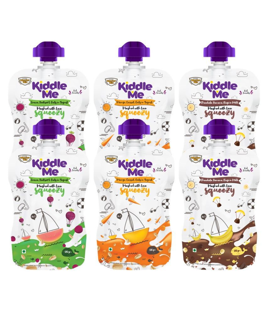 KiddleMe Squeezy Assortment/Mixed/Trial Pack Snack Foods for 6 Months + ( 120 gm ) Pack of 6
