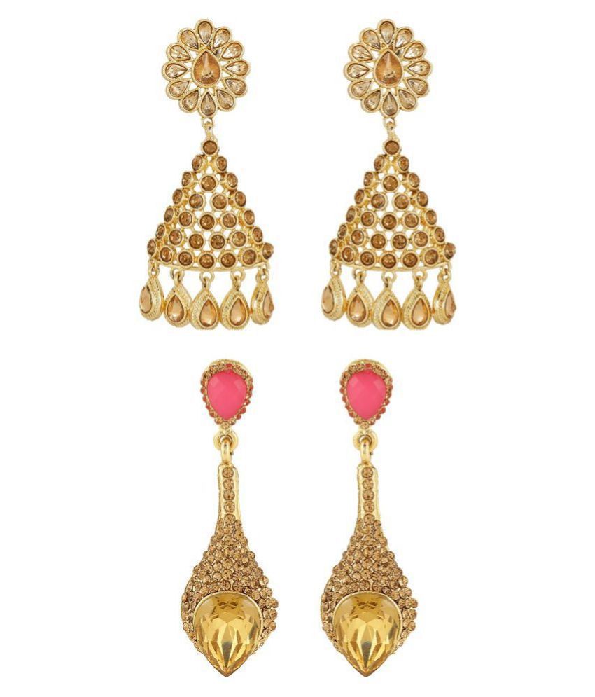 Kord Store Triangle Shape Design LCT Pink Kundan Jhumki & EarDrops Combo Of 2 Earring For Women