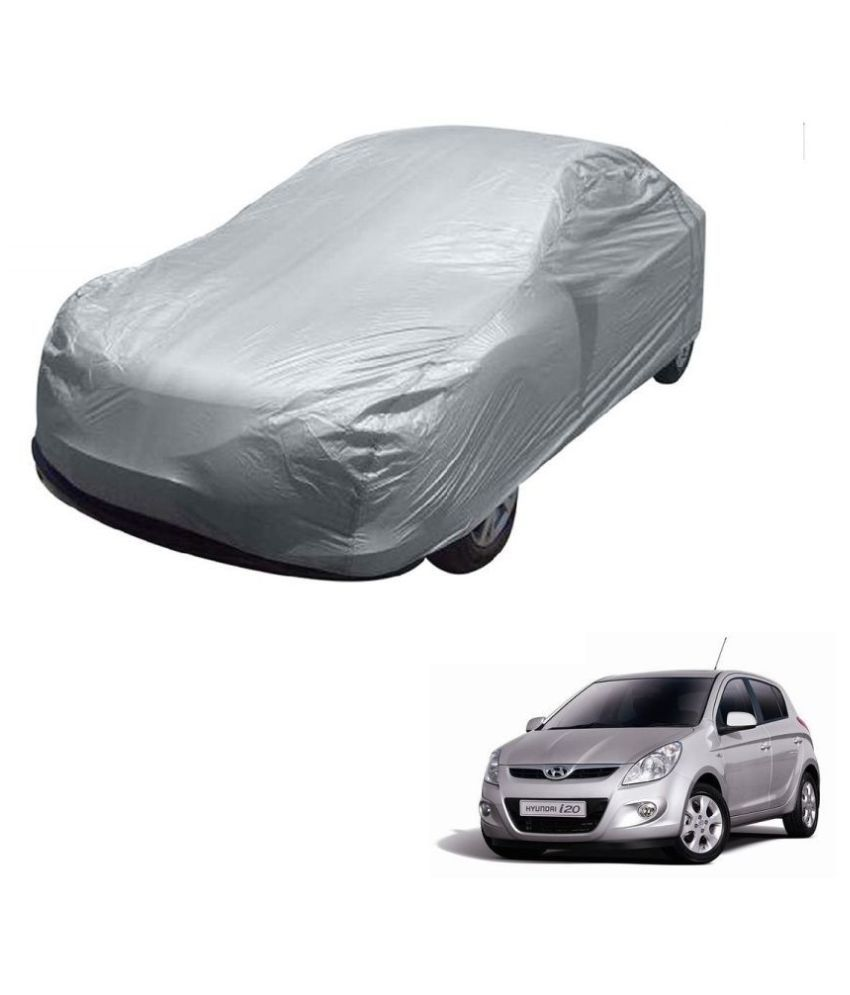 Kozdiko Silver Matty Car Body Cover with Buckle Belt For Hyundai Old i20 (2008-2014)