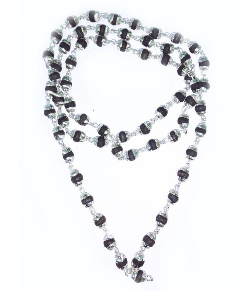 Original Black Tulsi Mala With Silver Cap