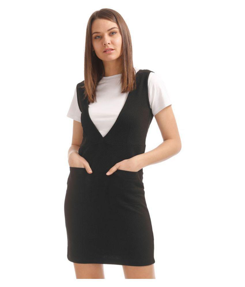 Sugr Polyester Black Sheath Dress