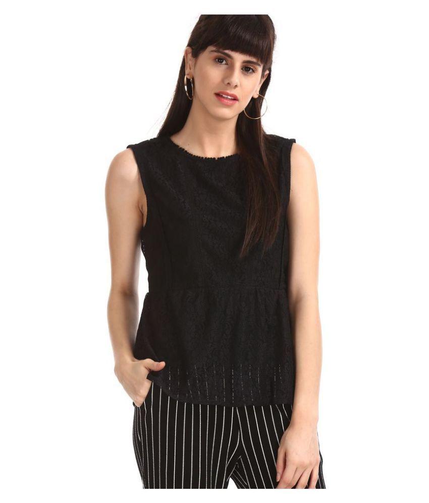 Sugr Polyester Regular Tops - Black