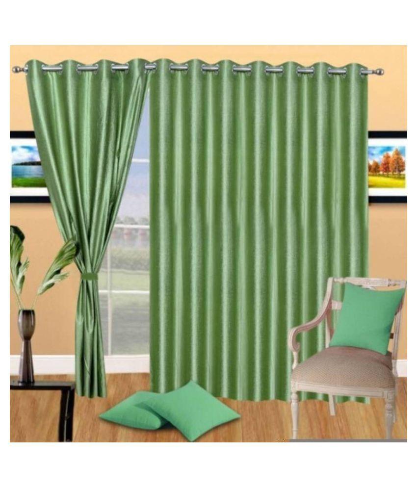 Handloom Hub Set of 3 Long Door Eyelet Polyester Curtains green