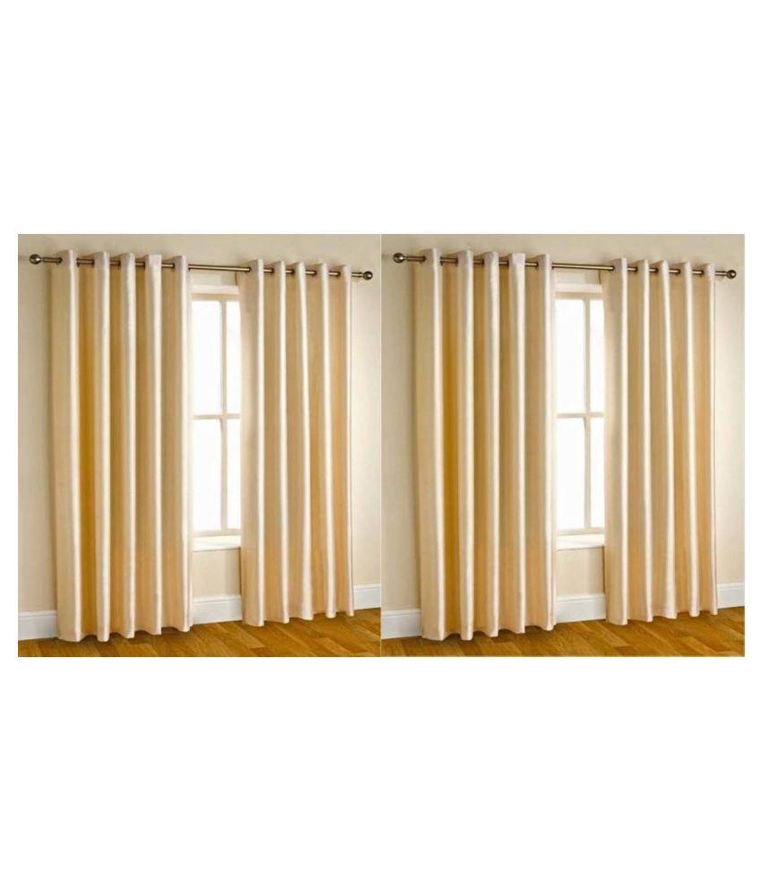 Handloom Hub Set of 4 window Eyelet Polyester Curtains cream