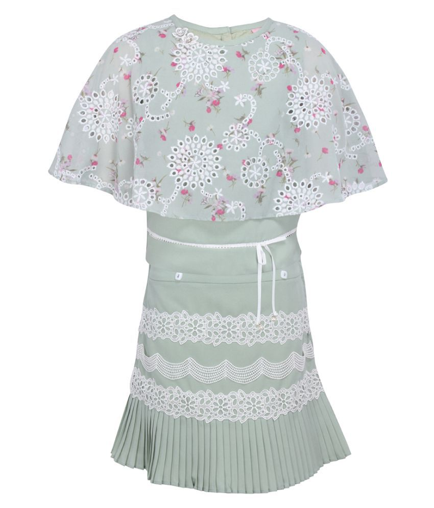 Partywear Floral Printed Cape Sleevels Top with Floral Embellished Skirt