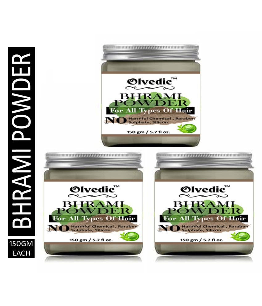 olvedic 100 % Pure Organic Brahmi Powder For Hair Care Face Pack Masks 450 gm Pack of 2