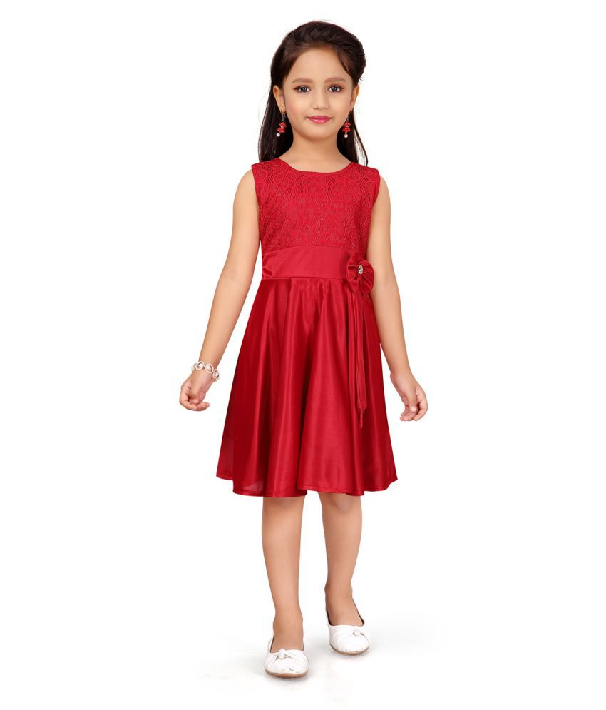 Aarika Girl's red coloured Party Wear FROCK