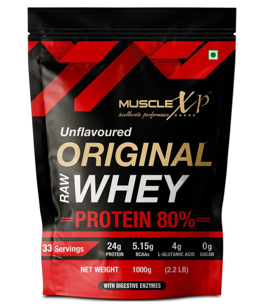 MuscleXP Raw Whey Protein Concentrate 80% Unflavored 1 kg
