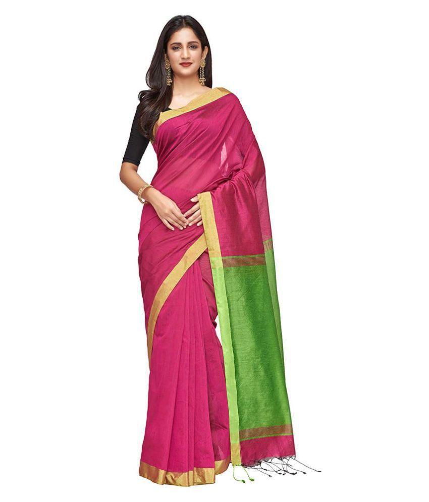 UrbanBunai Green,Pink Cotton Silk Saree