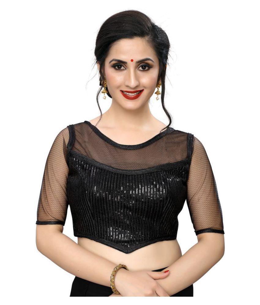 PRAFULBHAI KANTILAL RACHHADIYA (HUF) Black Georgette Readymade with Pad Blouse