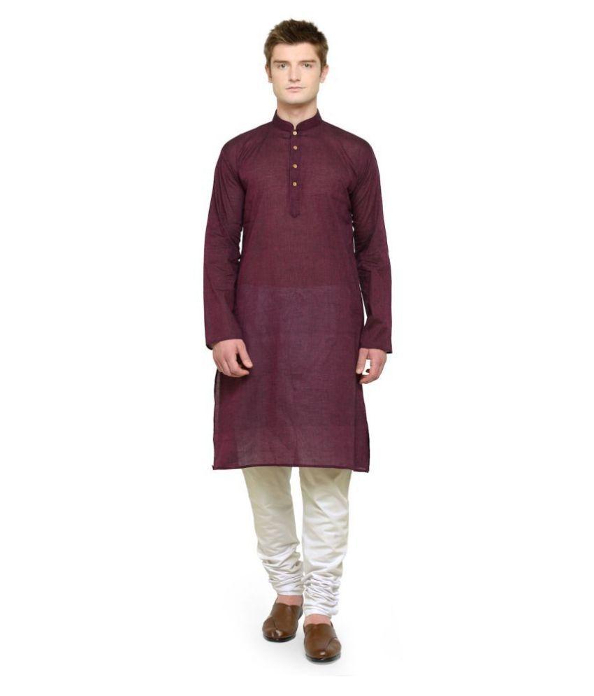 RG Designers Maroon Cotton Kurta Pyjama Set