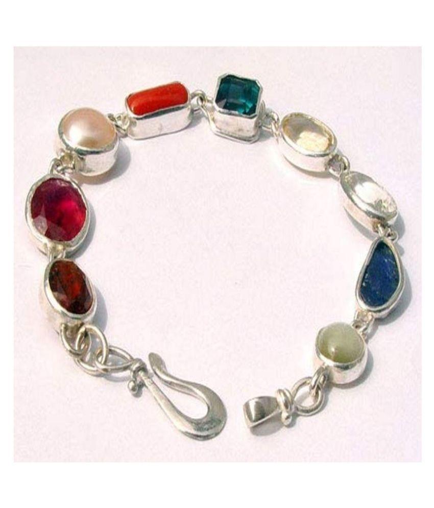 SHYAMKRIPA GEMS Navratna Bracelet Silver Bracelet Real Navarathan Stone Bracelets 9 Gem Stone Navgrah Bracelet Multi Color Bracelet bangles armlets anklets for astrological Purpose for Men and Women
