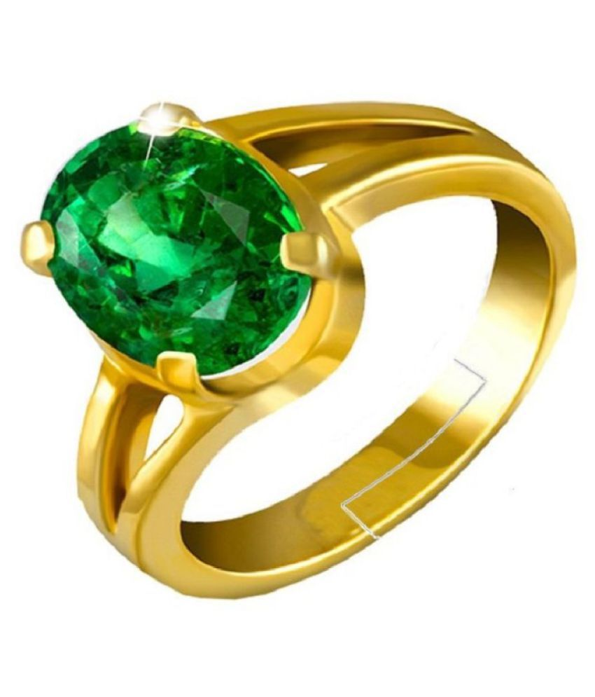5.25 Carat Original Natural Certified Green Emerald Ring May Birthstone Emerald Oval Cut Faceted Gemstone Ring Zambian Columbia Panna Gold Plated Ring for Men and Women