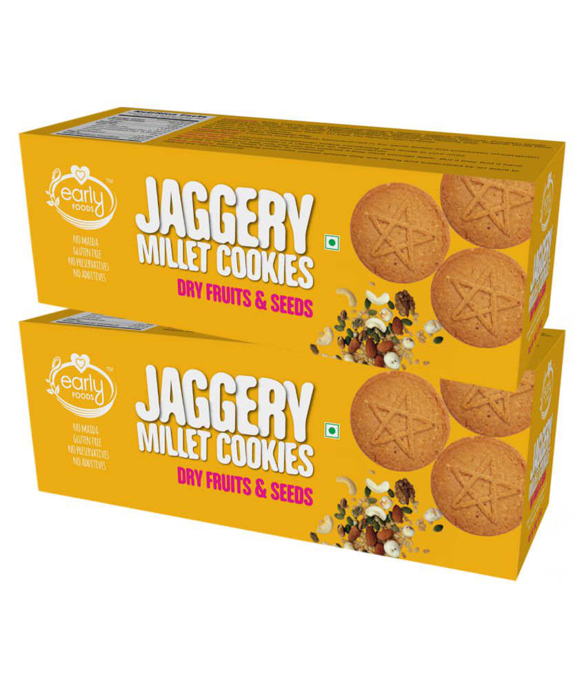Early Foods Organic Dry fruits&Seeds Jaggery Cookies Biscuits for 12 Months + ( 300 gm ) Pack of 2