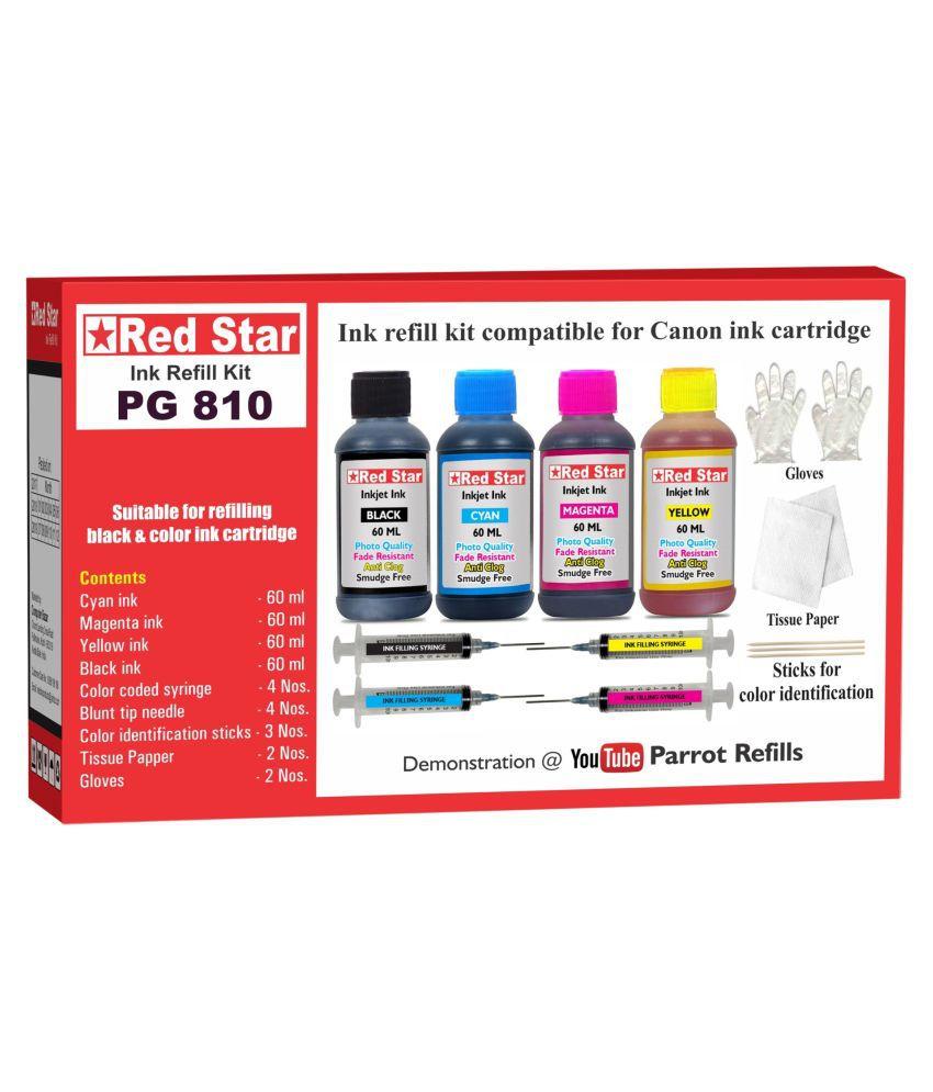 RED STAR INK REFILL KIT Multicolor Four bottles Refill Kit for Canon Pixma PG 810 black  amp; CL 811 color ink cartridge