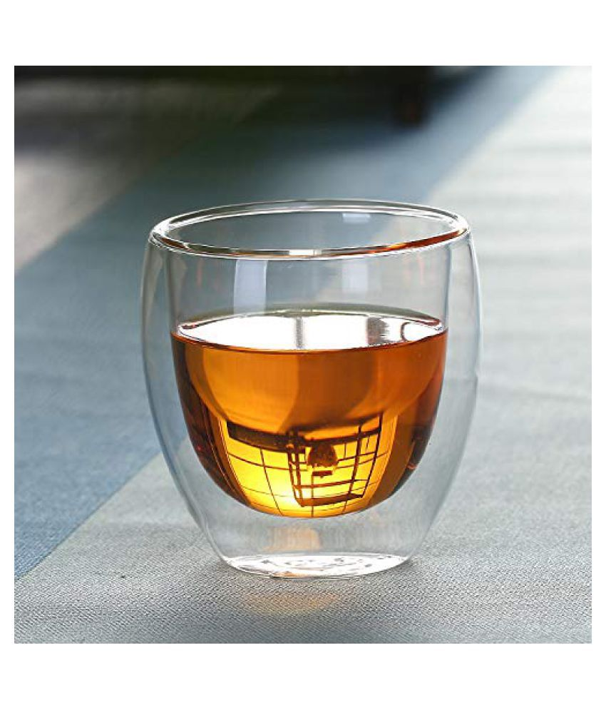 TGL Double Walled Glass Transparent Borosilicate Glass Tea Cup & Coffee Mug (250 ml) Pack of 2