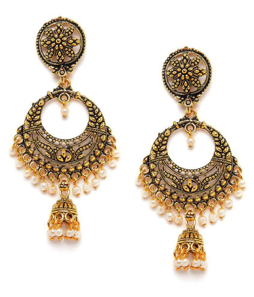 ZeroKaata Golden Bali Earrings with Pearls and Floral Motifs