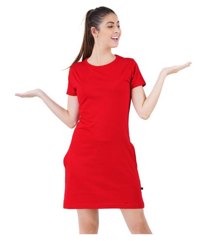stoovs Cotton Red T-shirt Dress