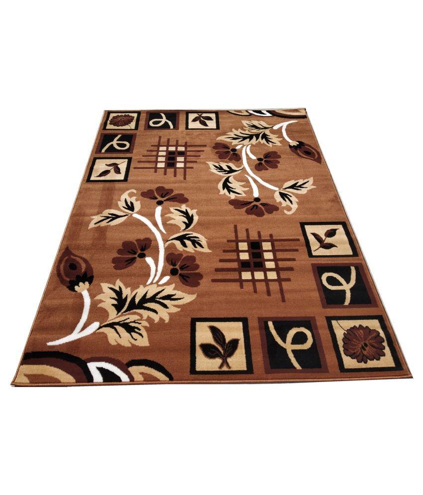 FIROZ AND BROTHERS Gold Polypropylene Carpet Floral 5x7 Ft